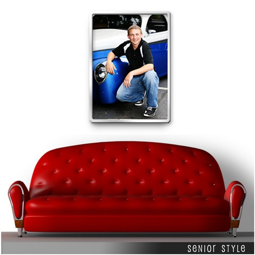 Sacramento-Pittsburgh-Senior-Photography-wall-display-red-couch