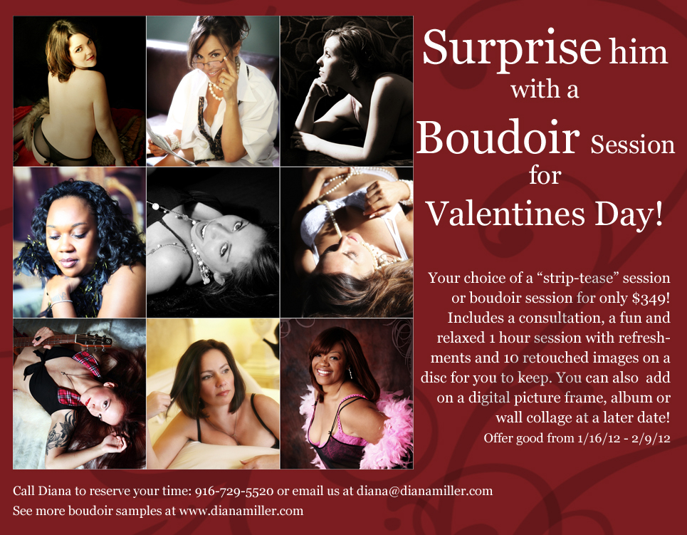 "Valentine's Day ""Boudoir Special"" info flyer for Diana Miller Photography"