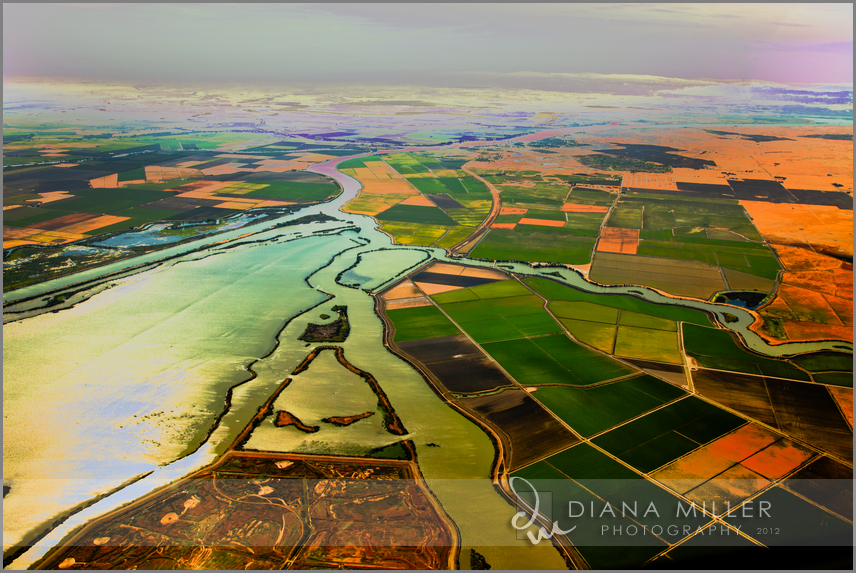 Aerial photography over the Central Valley of California between Sacramento and San Francisco