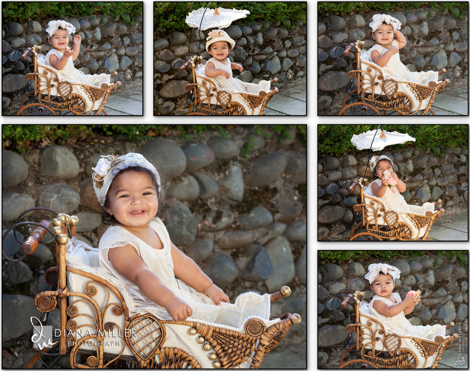 Baby in a vintage baby buggy